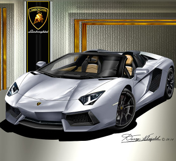 2013 - 2014 LAMBORGHINI ROADSTER ART PRINT BY DANNY WHITFIELD