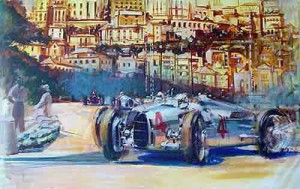 Automotive Car Art Auto-Union 1937 Monaco Grand Prix by Andrew McGeachy