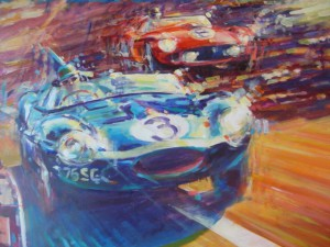 Automotive Car Art Le Mans D-type by Automotive Artist Andrew McGeachy