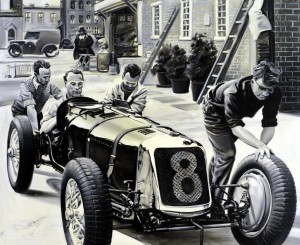 Willard Whitney on Maserati by Automotive Artist Andrea Del Pesco