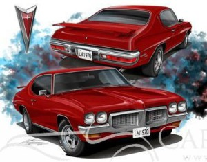 Fire engine red Pontiac LeMans at CarArtSpot