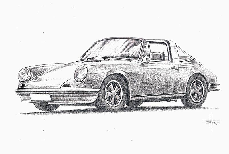 Porsche 911 S2.4 Targa drawing by Bert Heemskerk