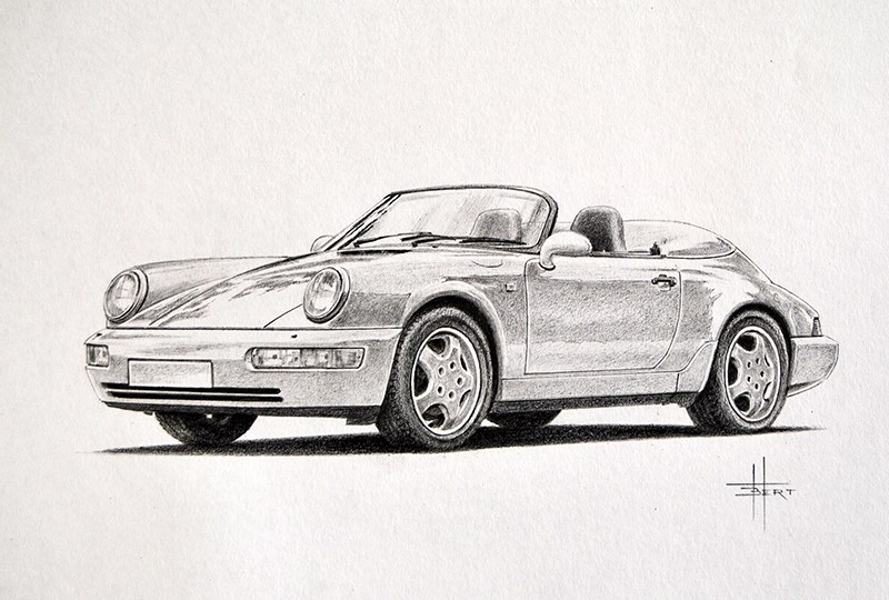Porsche 964 Speedser drawing by Bert Heemskerk