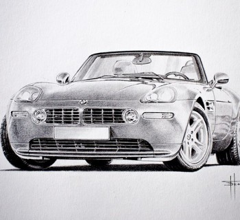 BMW Z8 drawing by Bert Heemskerk