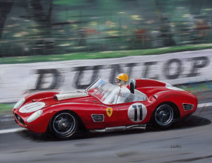 Paul Frére, Ferrari Testarossa TR60 at Le Mans in 1960 by Automotive Artist Andrew Kitson