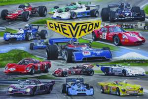 Chevron Racing Cars montage to celebrate 50 years by Automotive Art by Andrew Kitson