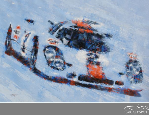 Porsche 917 Blue Automotive Art by Juan Carlos Ferrigno