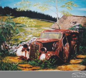 Mercedes commissioned car art by David Coax