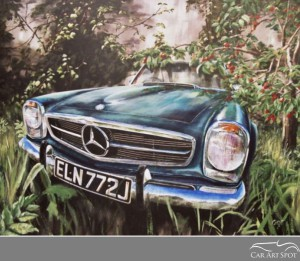 Mercedes SL commissioned automotive art by David Coax