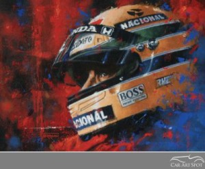 Senna Helmet Portrait Automotive Art by Juan Carlos Ferrigno