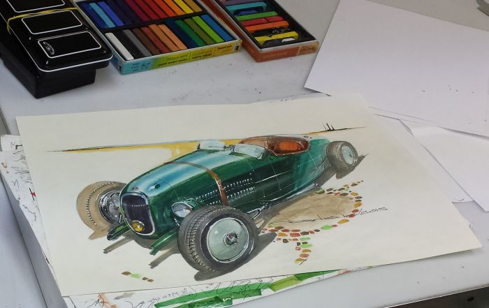 Sketch of Wayne Carini his car – by Alberto Hernandez