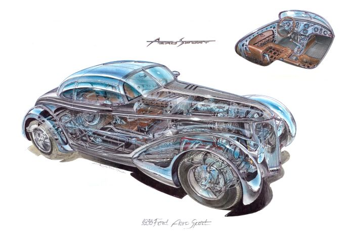Cutaway of the 1936 Ford Roadster