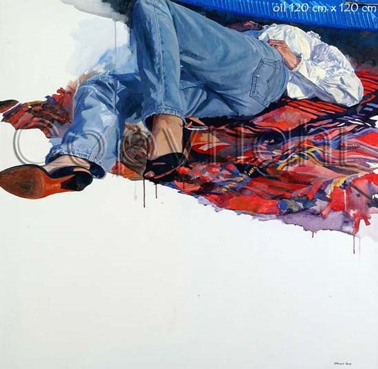 Woman Lying by Automotive Artist Stanley Rose