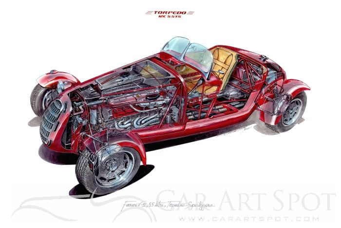 Alberto Hernandez Cutaway car illustration