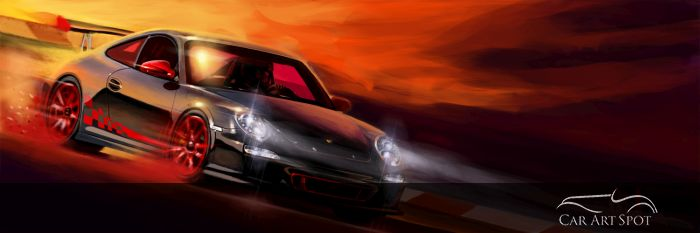 GT3 Porsche Automotive Art by Arvind Ramkrishna