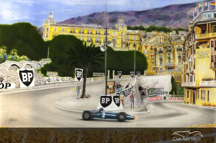 Painting of Graham Hills victory at Monte Carlo Grand Prix in 1965