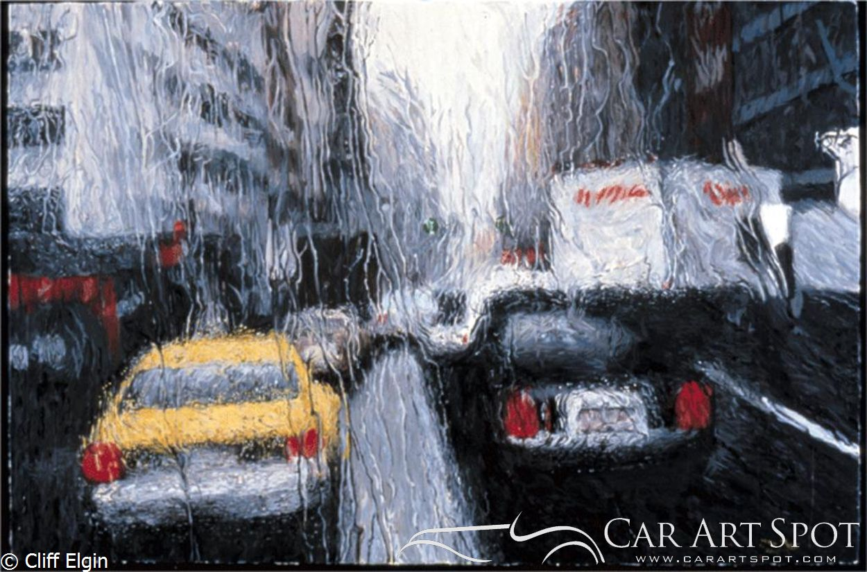 Cars in the rain by Cliff Elgin