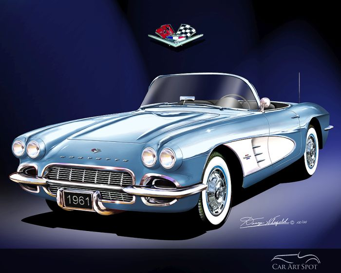 Corvette Roadster Car Art by Danny Whitfield