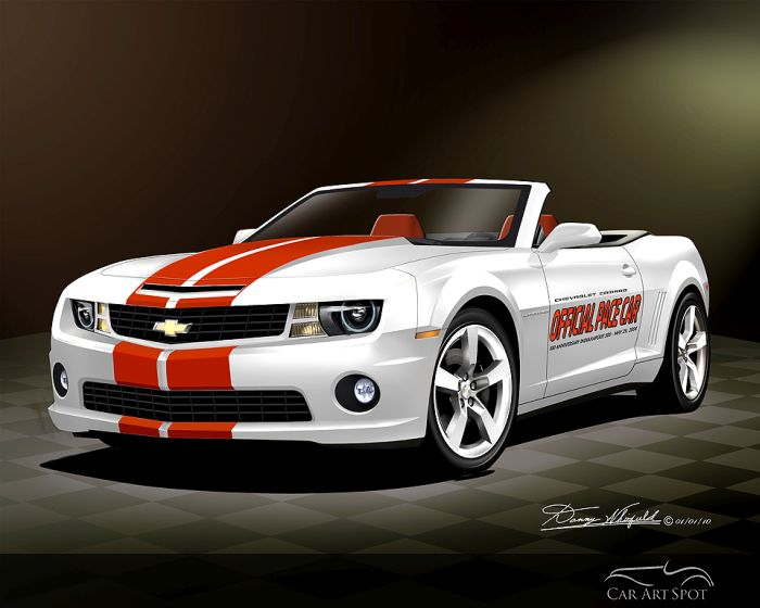 Hot Rods and Camaro Indianapolis 500 Pace Car Art by Danny Whitifield