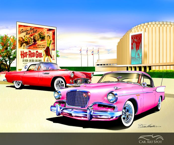 Hot Rods and Corvette Roadster Automotive Art by Danny Whitfield