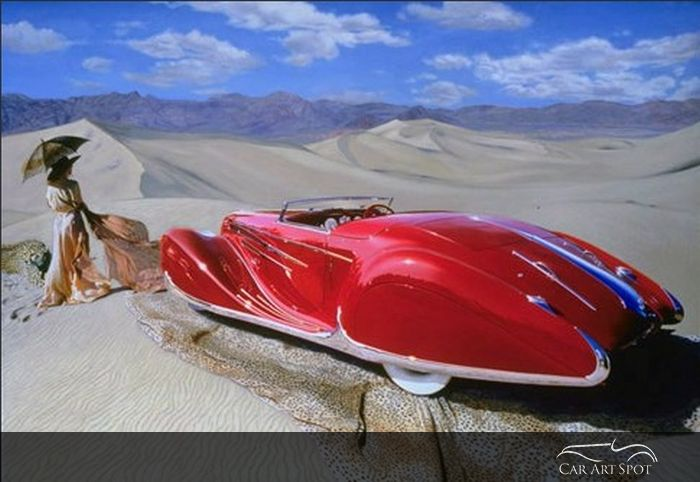 Delahaye in Death Valley by Automotive Fine Arts Artist Nicola Wood