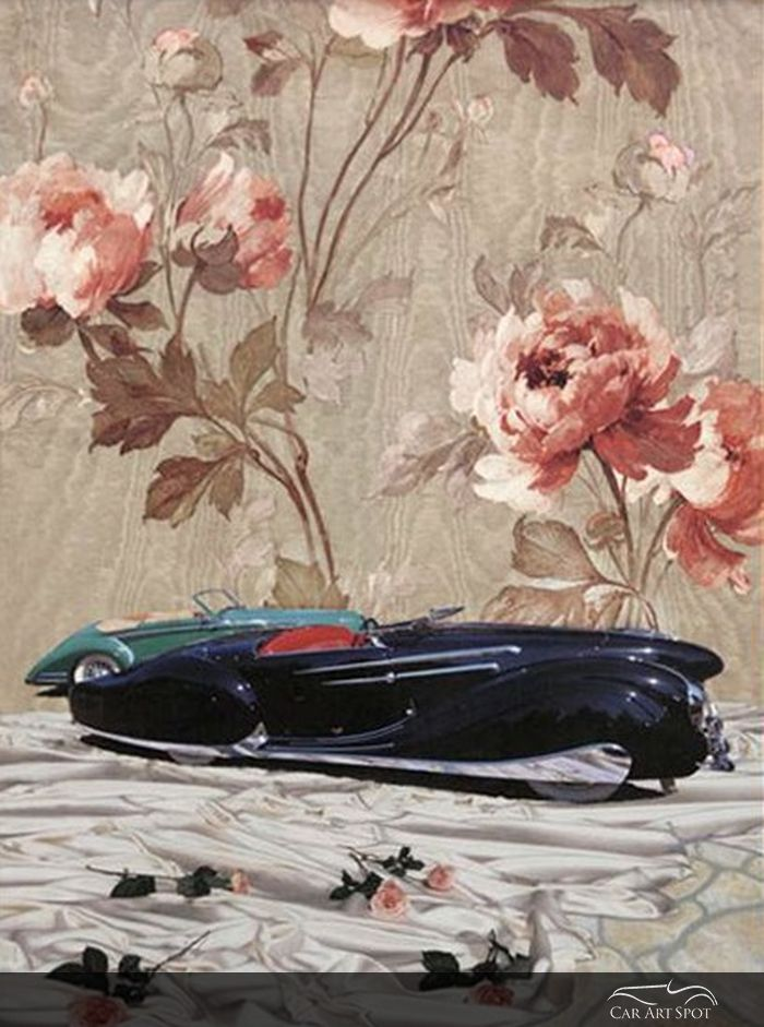 Two Delahayes with Flowers painted by Automotive Fine Arts Artist Nicola Wood