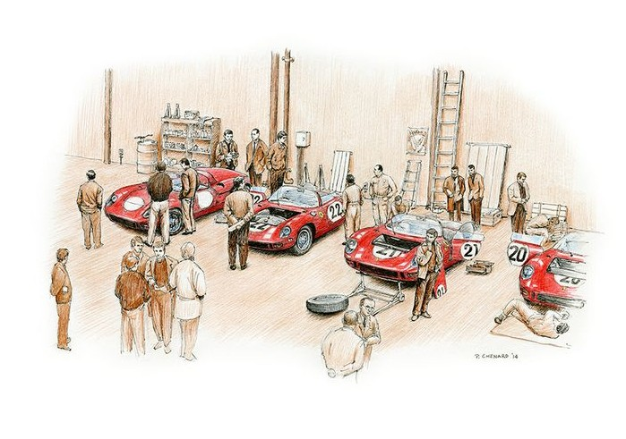 The Scuderia Ferrari Team 275Ps are being prepared prior to the 1964 24 heures du Mans.