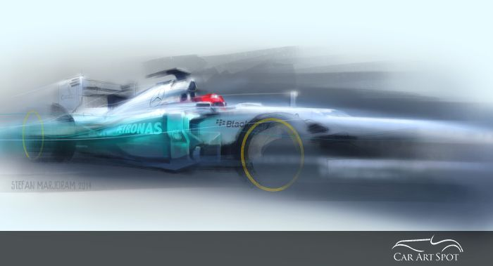 Mercedes F1 car art by Stefan Marjoram