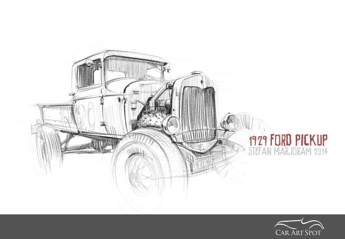 Car Art 1929 Ford Pickup by Stefan Marjoram