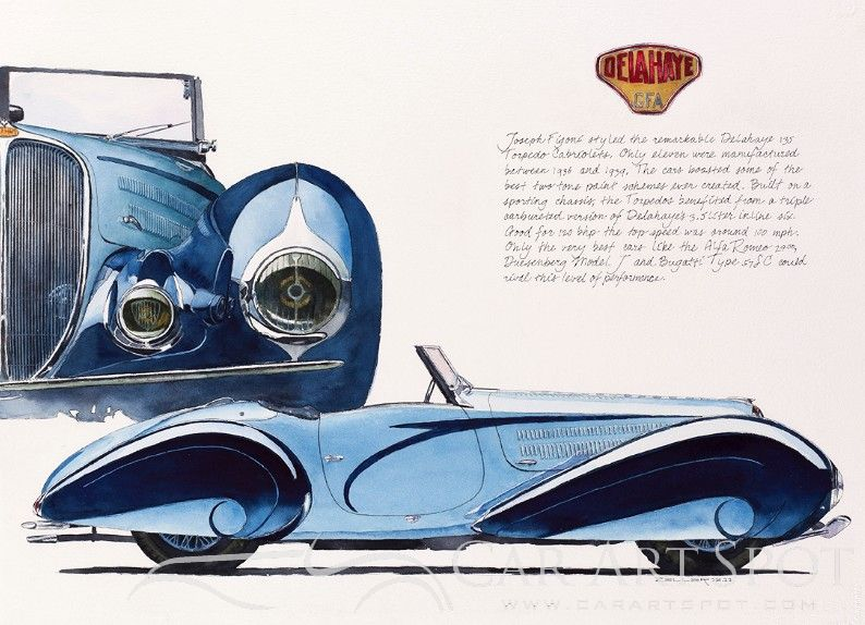 Delahaye by Automotive Artist Mike Zeller