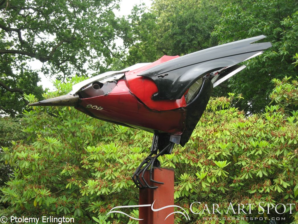 Ptolemy Erlington made this bird out of car parts